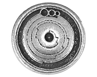 2 Crop Circles 3/4 inch ( 20 mm ) Pewter Buttons Antique Silver Color
