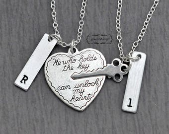key to my heart, COUPLE necklace, mr. mrs.,hand stamping jewelry, Valentines Day, His and Hers, Girl friend, Boy friend, Holiday gifts