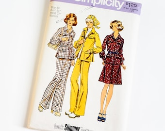 Vintage 1970s Womens Size 40 Shirt-Jacket, A-Line Skirt and Wide Leg Pants Simplicity Sewing Pattern 6106 FACTORY Folds / b44 w37