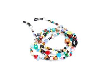 RandomJane glasses chain, colorful beaded hippie boho random style, eco friendly summer accessory, eye glasses, sun glasses, made in Vienna
