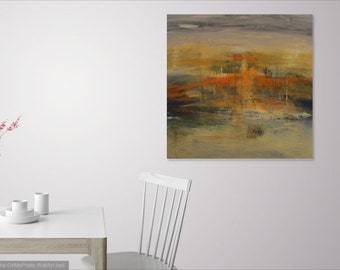 Yellow Ocre Orange Painting/ Square Painting/ Contemporary Art/ Large Canvas Painting/ Modern Wall Art/ Orange Painting