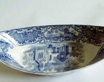 George Jones &  and Sons 'Abbey 1790' Blue and White Oval DIsh