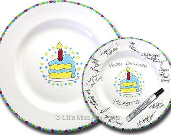 Free Shipping - Hand Painted Signature Birthday Plate - Piece of Cake - Happy Birthday Plate - 1st Birthday - Birthday Cake - Birthday Gift