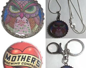 Mother's heart love Soda bottle cap OWL Folk Art drawing Keychain, Pendant, Necklace