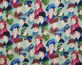 Ladies and Gentlemen Hats Faces Fabric Quilt Craft Home Decor
