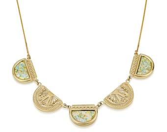 Roman Glass Filigree Gold Semi-Circle Necklace