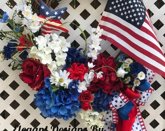 4th of July wreath, Patriotic Wreath, Fourth of July Wreath, American Flag Wreath, Independence Day Wreath, Memorial Day Wreath,