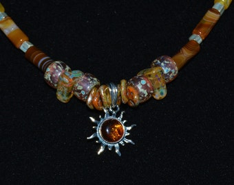 Amber Sun Beaded Necklace