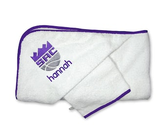 Personalized Sacramento Kings Baby Hooded Towel Set