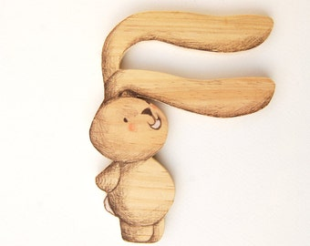 Alphabet Letter F, wood, Nursery wall art, New Baby gift. Bunny illustration. Eco friendly, recycled wood, Unique piece. ABC wall art