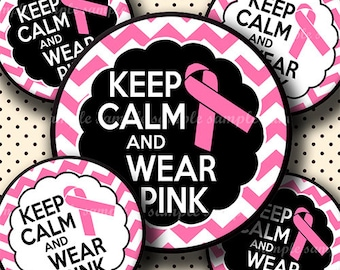 INSTANT DOWNLOAD Keep Calm And Wear Pink Chevron Breast Cancer (610) 4x6 Bottle Cap Images Digital Collage Sheet hair bows bottlecap images