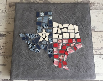 Made to Order - Broken China Mosaic State Stepping Stone - Garden Sign - Choose your State and Colors - Great Gift for Sports Fans!