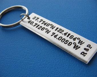 Custom Coordinates Keychain - Latitude Longitude Keychain - GPS Keychain - Hand Stamped Keychain - Gift for Her - Gift for Him - Traveling