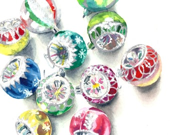 Shiny Brites Ornaments Watercolor Art Print