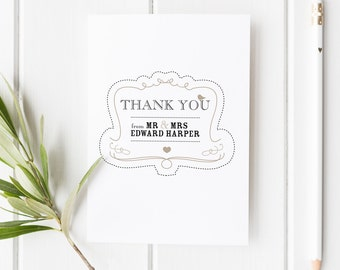 Elsie // Rustic Wedding Thank You Card // Black White and Beige // DIY Printable File // Digital PDF File