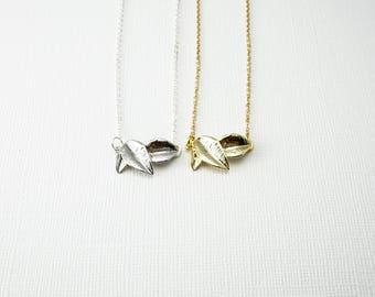Leaf Necklace, Simple Necklace, Delicate Necklace, Bridesmaids Necklace, Layering Necklace