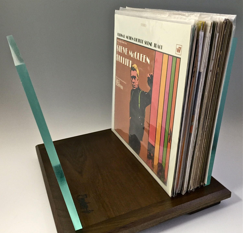 walnut lp vinyl record storage stand display holder. Black Bedroom Furniture Sets. Home Design Ideas