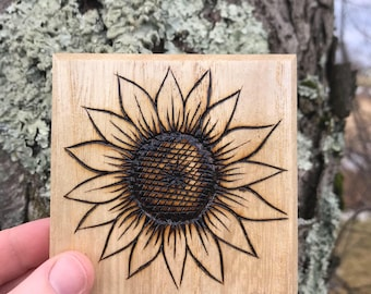 Four Piece Sunflower Coaster Set, Gifts For Gardeners, Gifts for Flower Lovers, Sunflower Lovers, Hand Wood Burned