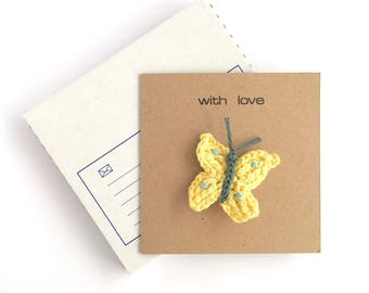 Butterfly Brooch / Easter Card Easter Gift Eco-friendly Card / Mothers Day Gift / Gift for Mom Mum / Birthday Greetings Card with Brooch