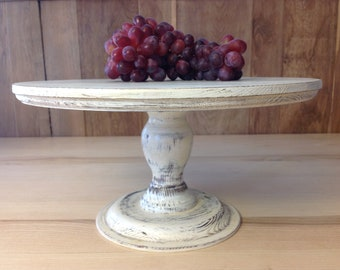"CAKE STAND  Shabby 13.3"" 34cm white, solid wood"