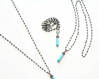 Long Bohemian Gemstone Necklace