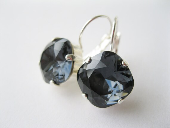 Dark Gray Bridesmaid Earrings Rhinestone Drop Earrings Grey Bridal Vintage Style Jewelry Wedding Sets Swarovski Elements Graphite