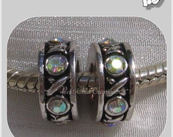 SILVER RHINESTONE SNAKE COMPATIBLE LUNAR 2 RING METAL CHARMS BEADS * H283