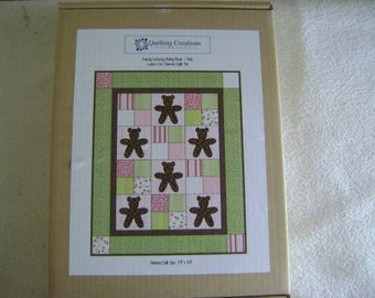 Fuzzy Wuzzy Baby Bear Pink Laser Cut Flannel Quilt Kit/Stencil/Instructions/Material