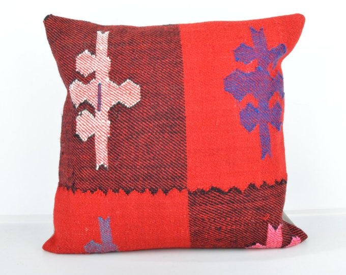 Kilim pillow, Kilim Pillow Cover, Turkish Pillow, Kilim Cushions, Moroccan Pillow,  Bohemian Pillow, Turkish Kilim, KP63 (tp446)