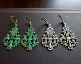 40% OFF SALE! - Large Filigree Brass Art Deco Earrings - Verdigris Patina or Oxidized Silver