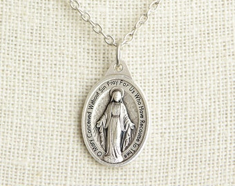 Miraculous Medal Necklace. Miraculous Necklace. Catholic Necklace. Holy Mother Necklace. Catholic Medal Necklace. Catholic Jewelry.