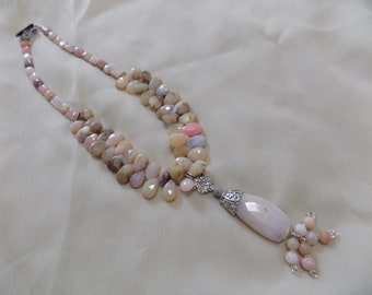 Pink Peruvian Opal Teardrop and Pendant Necklace