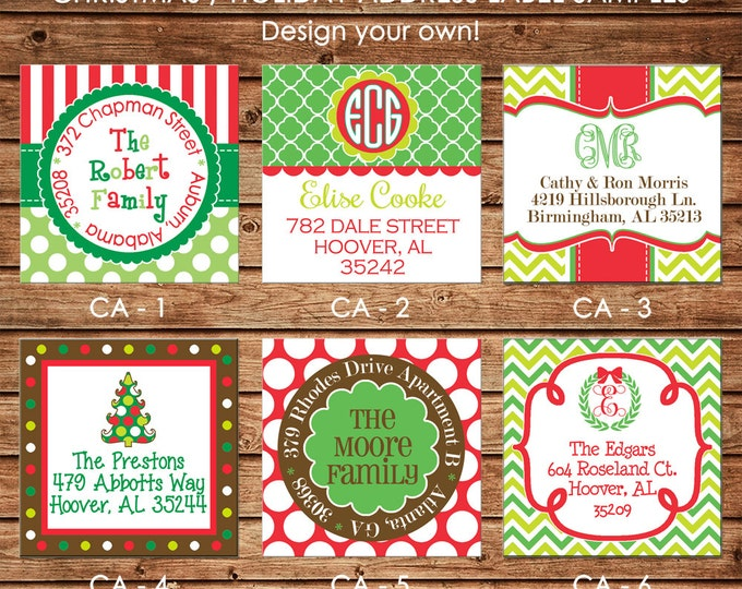 30 Square Return Address Labels Personalized Christmas Holiday  - Choose ONE DESIGN
