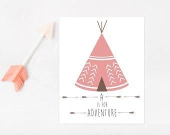 Tribal Baby Shower Decorations Girl, Tribal Nursery Decor, Baby Girl Nursery Wall Art, Tribal Party Decor, Tribal Nursery Print, Pink Teepee
