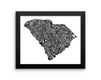 South Carolina typography map art FRAMED print customizable personalized custom state poster wall decor engagement wedding housewarming gift