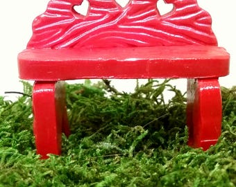 Red fairy garden miniature bench. Dollhouse, terrarium decor.