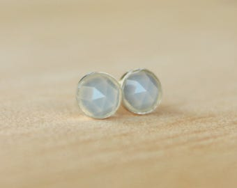 Rose Cut Faceted Natural Blue Chalcedony Gemstone 6mm Bezel Set on Niobium or Titanium Posts (Hypoallergenic Studs for Sensitive Ears)