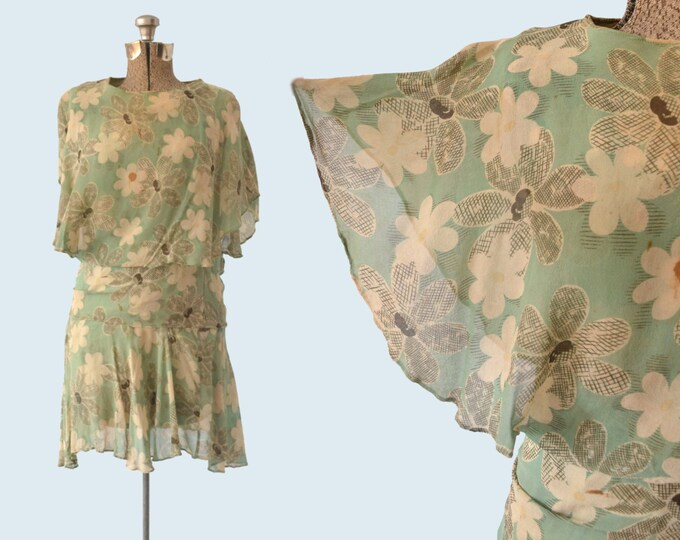 1920s Flapper Dress in Floral Silk size S