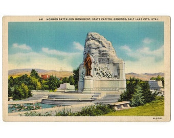 Salt Lake City Utah vintage linen postcard | Mormon Battalion Monument, Utah state capitol | 1930s UT travel souvenir, vacation scrapbook
