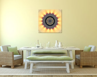 Sun Mandala Art ~ Canvas Print ~ Home Accessories ~ Modern Wall Decor ~ Sun Photography ~ Feng Shui Decor ~ Fire Element ~ Sacred Geometry