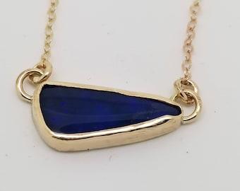 Australin Opal gemstone 14k yellow gold filled bar pendant necklace
