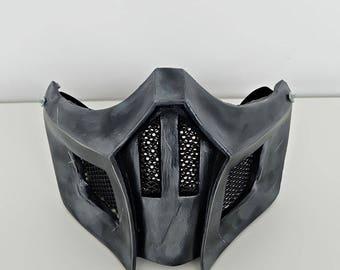 Half Cover Samurai Mask, Airsoft Mask, Halloween Costume Cosplay Mask, MORTAL KOMBAT X Mask, Noob Saibot Mask, Steampunk Wall Mask MA226