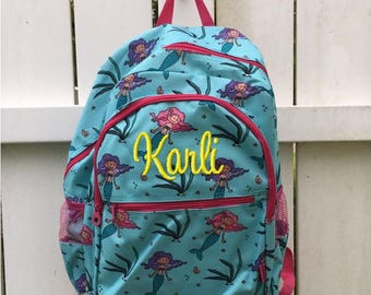 Personalized Aqua and Pink Mermaid Multi Pocket School Size Backpack Book  Bag - Monogrammed Name or 669da56f0e875