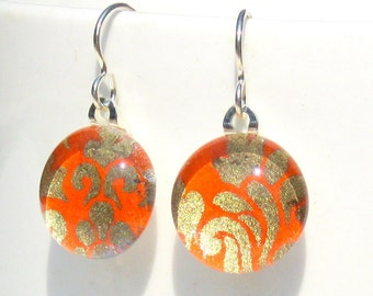 regal tangerine geisha gem danglies - glass and Japanese chiyogami earrings with eco friendly Argentium sterling silver