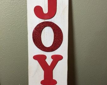 Recycled barn wood JOY sign