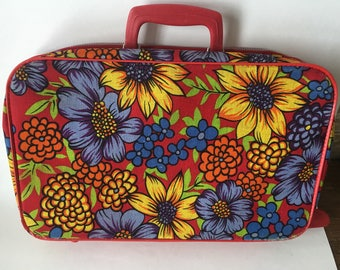 Vintage Suitcase Flower Power Red  Pattern 1970's Adorable