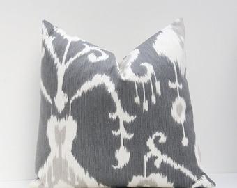 15% Off Sale Euro Pillow,  Euro Pillow cover, Gray Pillow - Grey Pillow cover - Decorative Pillow - Ikat Pillow, Ikat Pillow Cover, Euro Sha