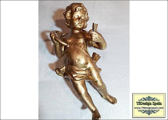 Angelitos para colgar, Querubines dorados, Querubines pared, Set 2 angelitos, Angelitos figuras pared, Angelitos dorados, Angelitos pareja