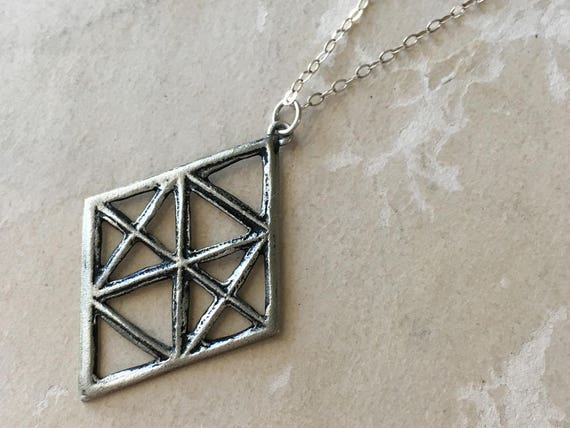 Diamond Shape Necklace, Architectural Jewelry, Arts and Crafts Mission Style, Industrial Chic