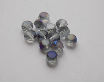Pearl 6 mm glass electroplate, flat round shaped faceted blue AB set